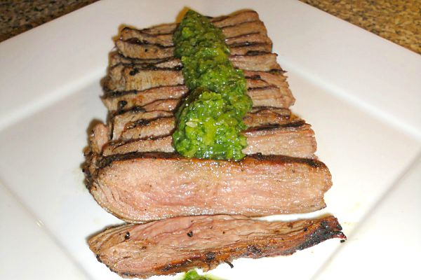 Flank Steak with IPA Beer Marinade and Aji Dipping Sauce - Get the recipe on Basilmomma.com