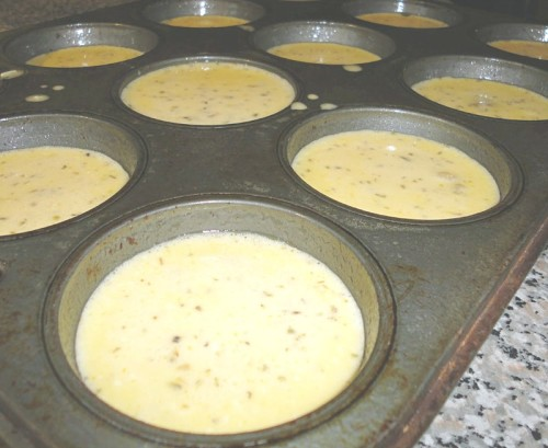 Uncooked egg muffins batter
