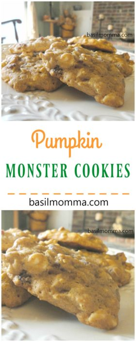Pumpkin Monster Cookies - Perfect pumpkin recipes for baking HAVE to include these cookies! Made with real pumpkin puree, white chocolate, Craisins, rolled oats, and fall spices. Recipe on basilmomma.com