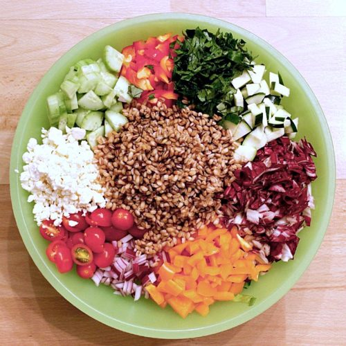 Farro Chopped Vegetables Garden Salad