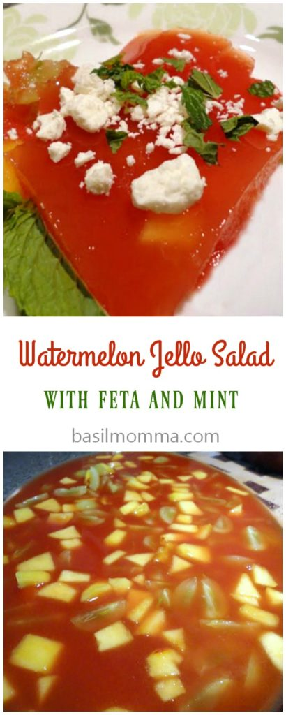 Watermelon Jello salad is a delicious summer salad recipe. Fresh fruit is added to made-from-scratch watermelon Jello, then topped with feta and fresh mint.