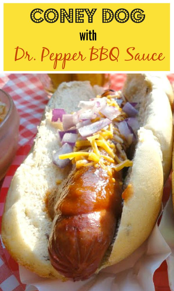 Coney Dog with Dr. Pepper BBQ Sauce - Get the delicious recipe at basilmomma.com