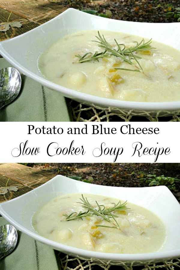 Potato Blue Cheese Slow Cooker Soup - Can be made in a slow cooker or on the stove top. Get the recipe from @basilmomma