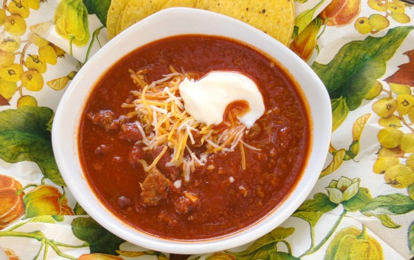 This hearty, flavorful beef chili has 2 types of beef and 3 varieties of beans. It's a dinner that will stick to your ribs and warm you up on a cold night.