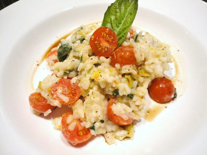 Easy Caprese Risotto - A quick and easy lunch or dinner recipe. A great use for the end of the season garden tomatoes and basil. Recipe on basilmomma.com