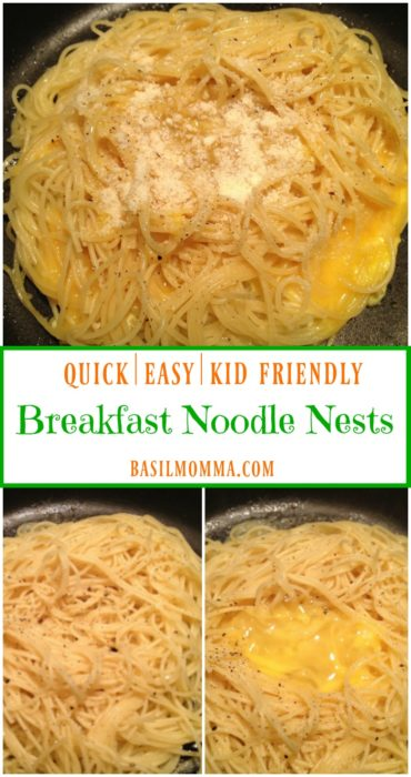 Breakfast Noodle Nests - A kid-friendly breakfast made with cold pasta noodles, eggs, and Parmesan cheese. SO easy to make and my kids love them! | Recipe on basilmomma.com