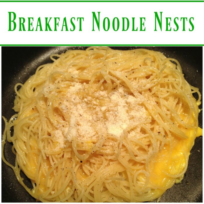 Breakfast Noodle Nests - A kid-friendly breakfast made with cold pasta noodles, eggs, and Parmesan cheese. SO easy to make and my kids love them!