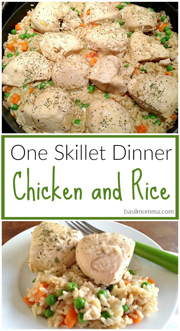 One Skillet Dinner Recipe for Chicken and Rice - Get the recipe on basilmomma.com