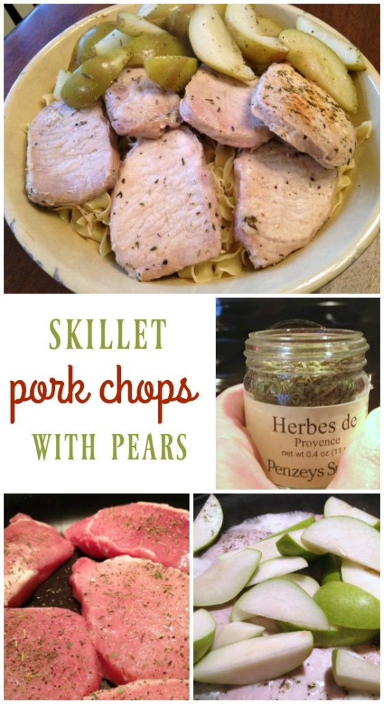 One Pan Skillet Pork Chops with Pears - 5 ingredients and this easy dinner cooks in 25 minutes! | basilmomma.com