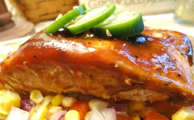 Barbecued Salmon with Fresh Sweet Corn Relish - Perfect for indoor cooking or outdoor grilling. Get the easy recipe on basilmomma.com