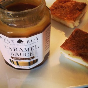 Best Boy and Co. Caramel Sauce, drizzled over easy to make cheesecake bars