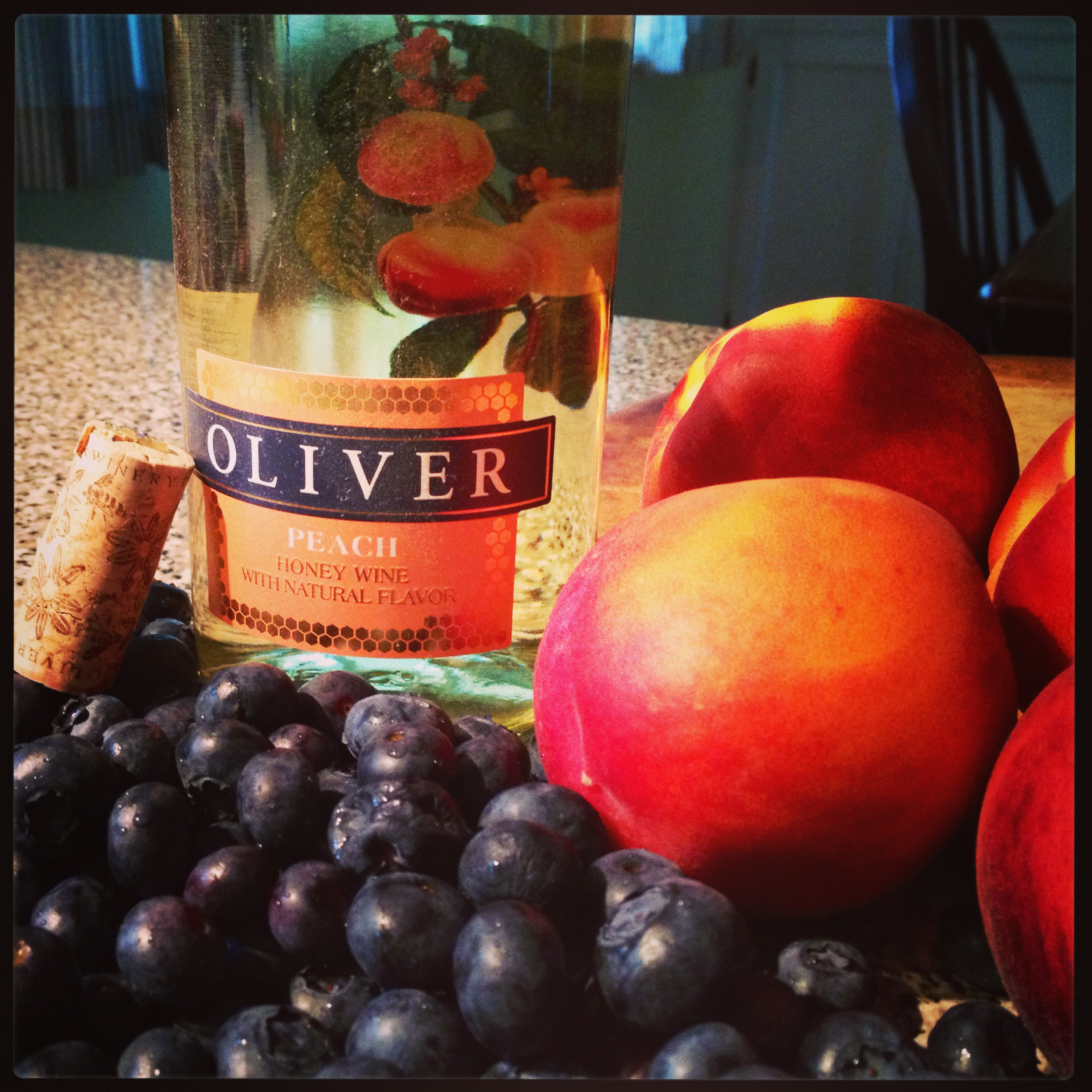 Oliver Winery Peach Honey Wine and Blueberry Galette - Basilmomma