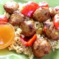Sweet and Sour Meatballs with Peach Sauce - Delicious chicken sausage meatballs are tossed in a sweet and sour peach sauce for a quick and easy Asian take-out style meal, cooked and eaten at home!