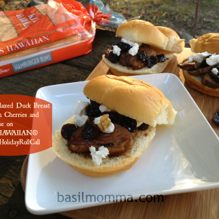 Bourbon Glazed Duck Breast Sliders with Cherries and Goat Cheese on KING'S HAWAIIAN® Rolls #KHHolidayRollCall