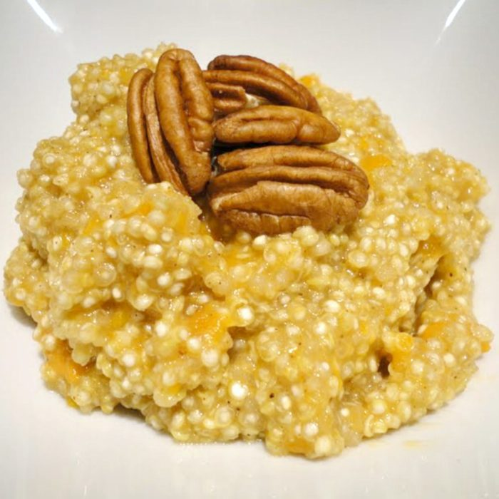 Maple Pumpkin Pecan Quinoa - A hearty, healthy, hot breakfast cereal that's perfect for fall or winter weather. Recipe on basilmomma.com