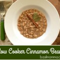 Slow cooked Great Northern Beans from Hurst, with just a touch of cinnamon goodness. This slow cooker beans meal has a meatless option, too. Get the recipe from basilmomma.com