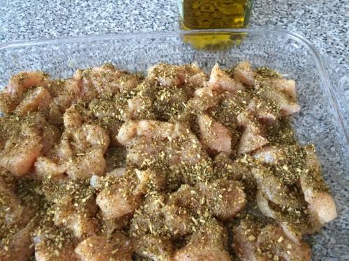 Chicken ready for the oven in a chicken bruschetta pasta dinner
