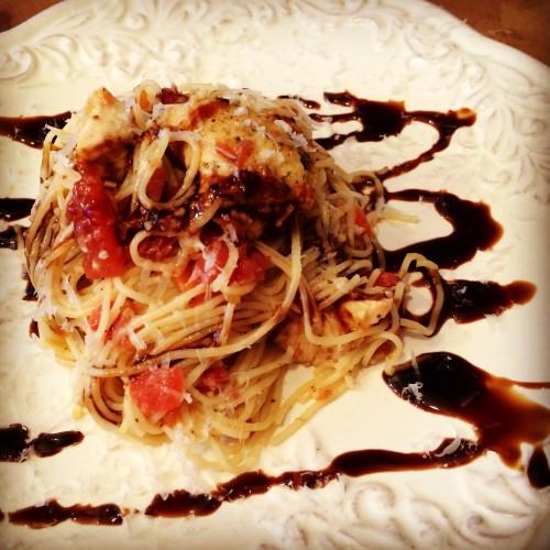 Chicken Bruschetta Pasta - A healthy pasta recipe from basilmomma.com