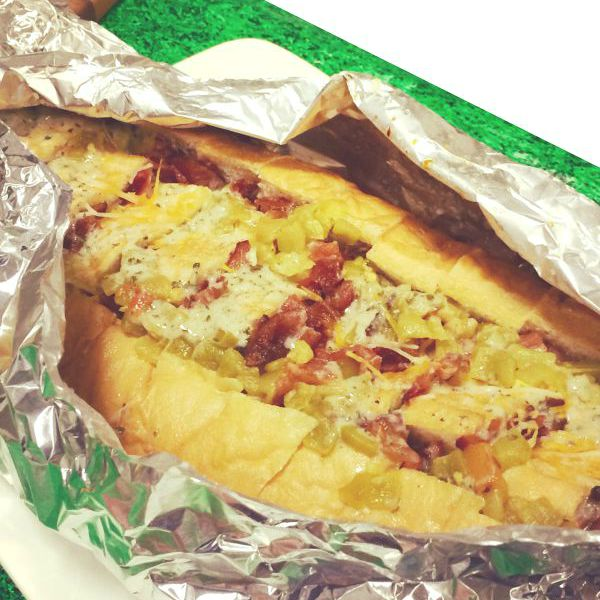 Easy Game Day Recipes including this bacon green chili cheddar stuffed bread - Get the recipe on basilmomma.com