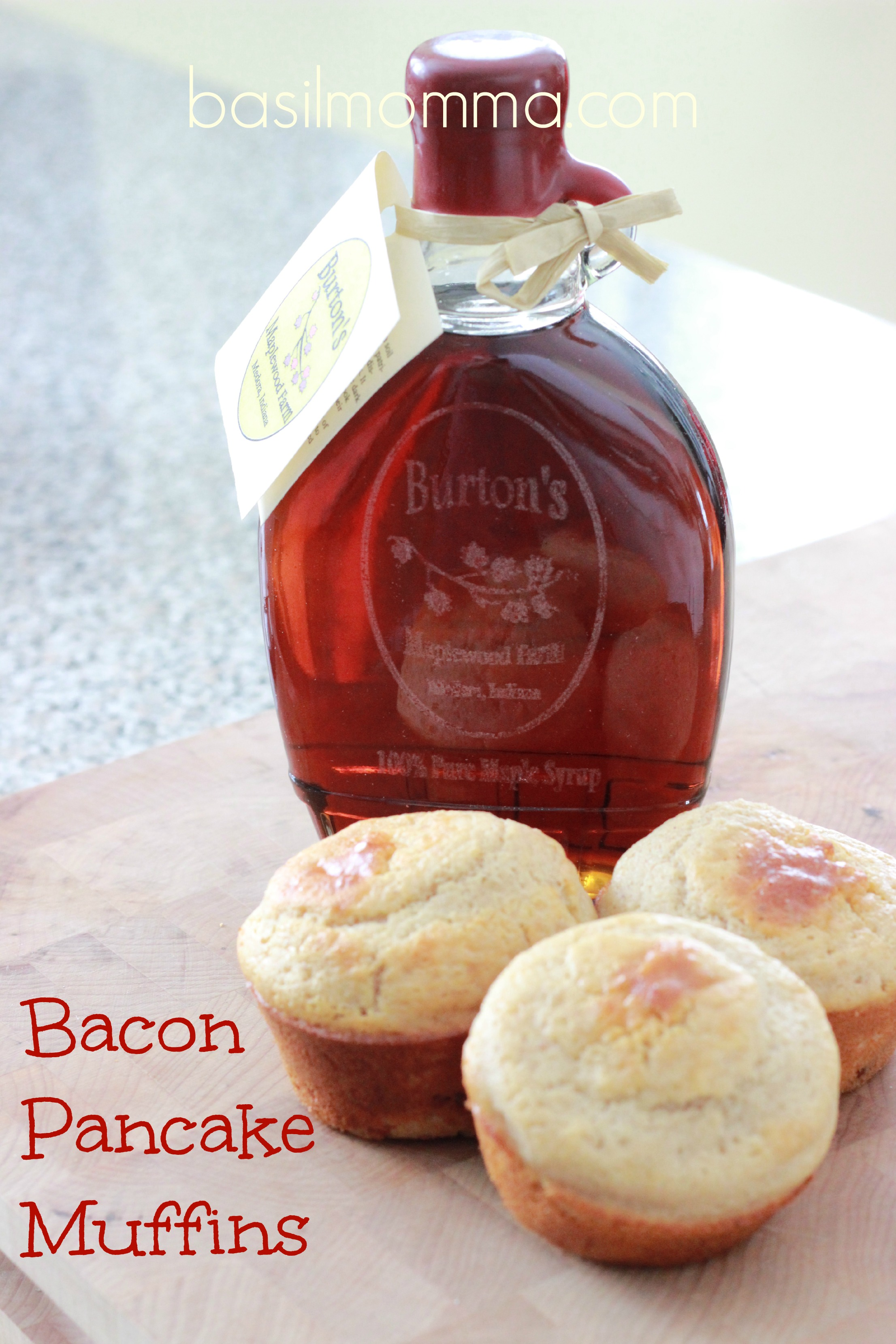 Bacon pancake muffins! Easy to make and stuffed with bacon, they're so good! Drizzle with real maple syrup on a weekend or plain as a grab-n-go breakfast.