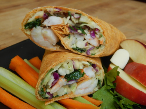 This heart healthy hand held seafood recipe for Citrus Shrimp with Spicy Hummus Wrap can be found on basilmomma.com