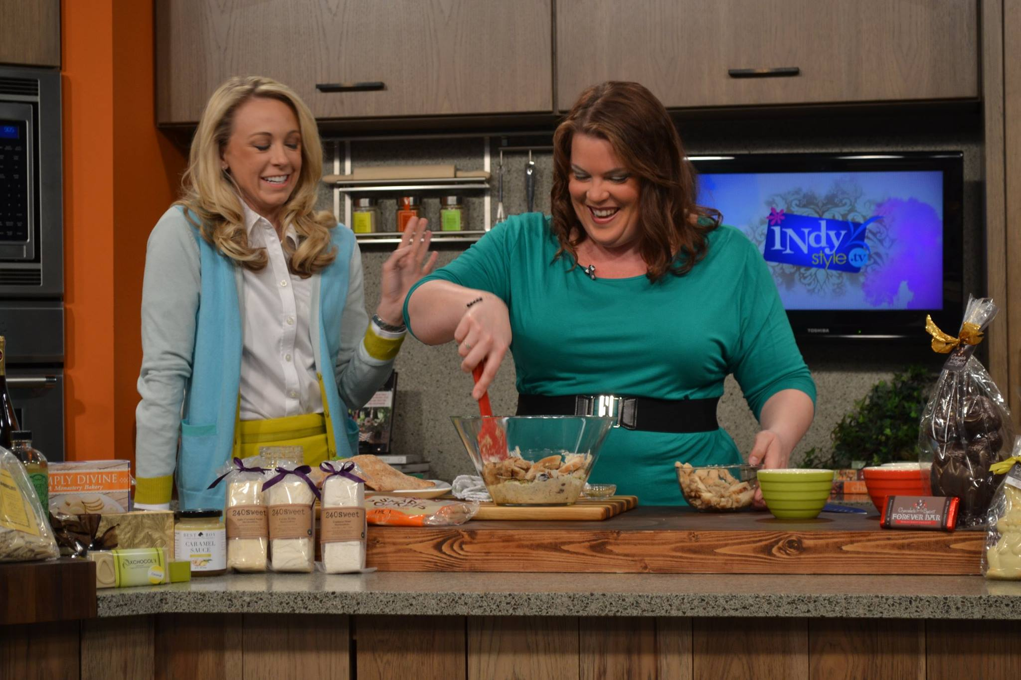 Making mustard chicken salad on IndyStyle - Get the recipe on basilmomma.com