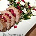 Marinated pork tenderloin that's been matched with a pomegranate vinaigrette, then paired with pomegranate arils and goat cheese, and served over brown rice.