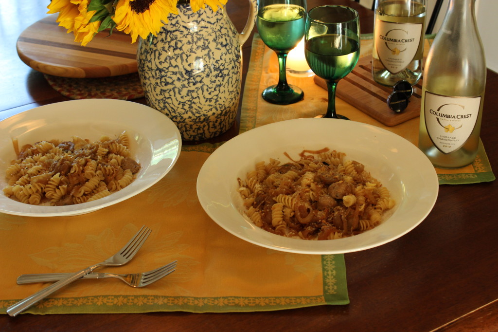 Pasta with Caramelized Sweet Onions,White Wine and Chicken Sausage