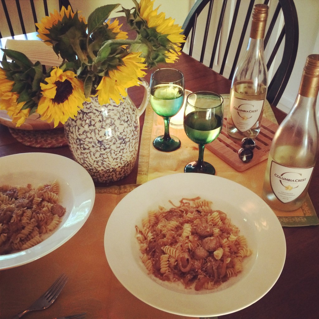 Pasta with Caramelized Sweet Onions, White Wine and Chicken Sausage
