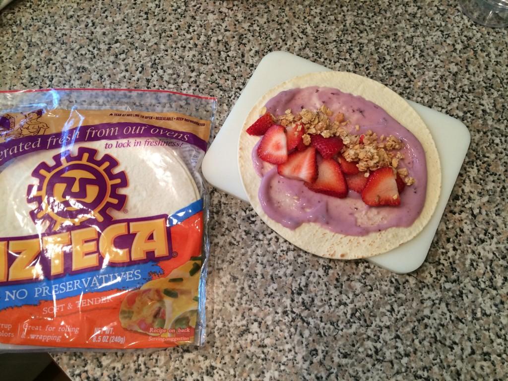 Yogurt, strawberry and granola tortilla