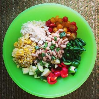 Summer Vegetable Chopped Salad with White Beans and Lemon Vinaigrette