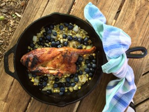 Grilled Half Duck with Bacon, Sweet Corn and Blueberry Saute