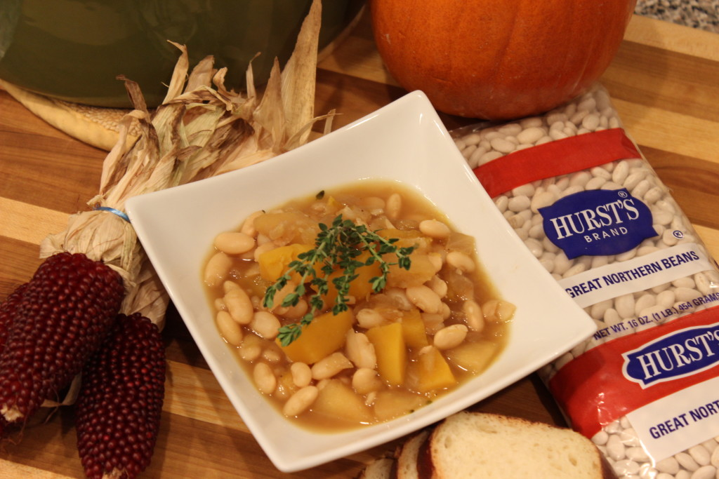 Great Northern beans are loaded up inside of this delicious, vegetarian pumpkin apple stew. It's healthy, it's hearty, and it is an absolutely delicious fall dinner recipe!