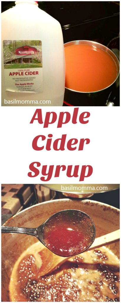 Apple Cider Syrup - the perfect condiment for pancakes, waffles, over ice cream, in cakes, and even in your coffee! Recipe on basilmomma.com
