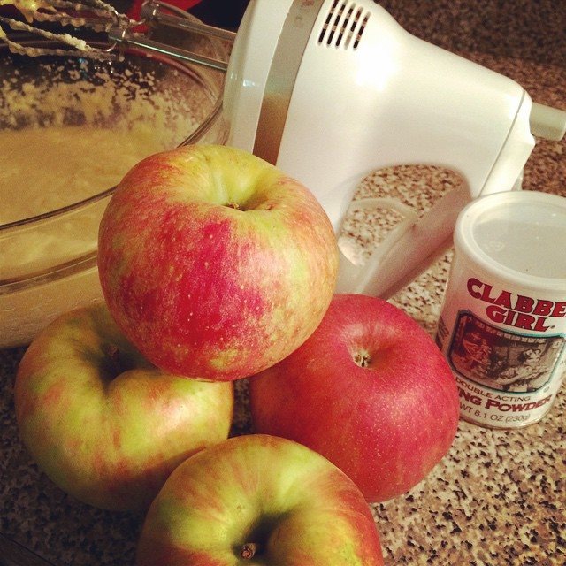 Honeycrisp apple bread happening now. @clabbergirlbaking I know how to rock out a Friday night :) #baking