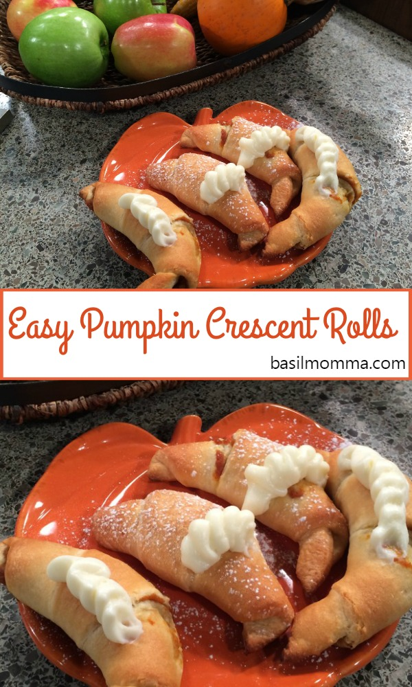 Easy Pumpkin Crescent Rolls are an easy pumpkin recipe that makes a great snack or quick dessert. Fall baking at its easiest! Recipe on basilmomma.com