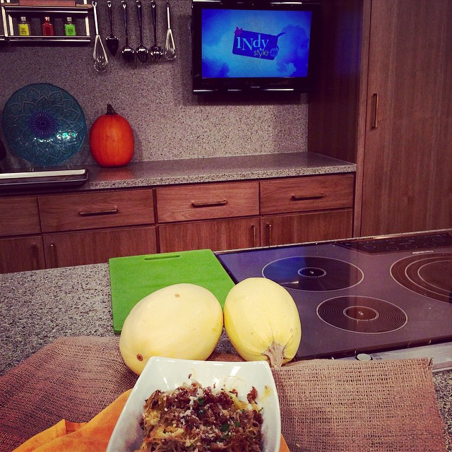 Stout's spaghetti squash sautéed with shallots and sausage- on today's @indystyle @IndyStyleProd #foodtv #indy