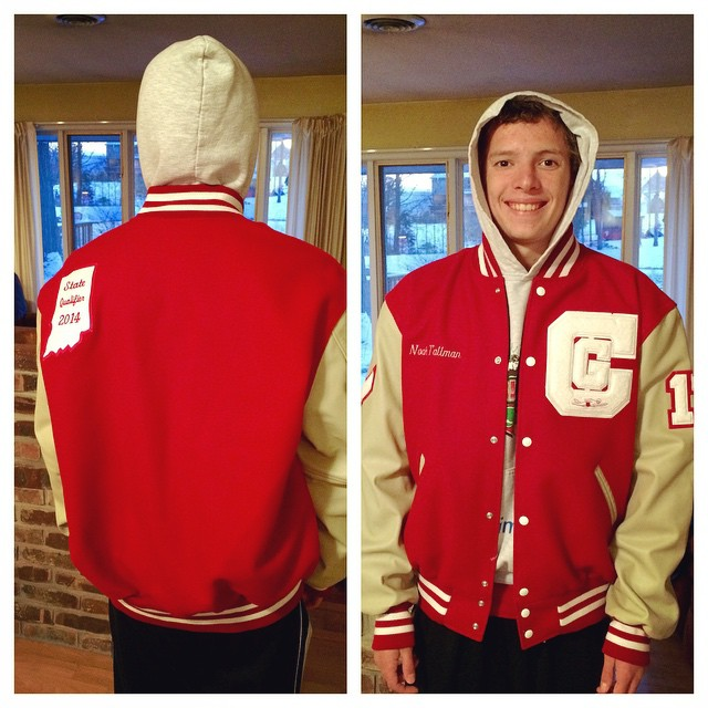 We waited as long as we could- but today his letter jacket came in. He's growing up ? #INSwimming #CenterGrove #SwimLife