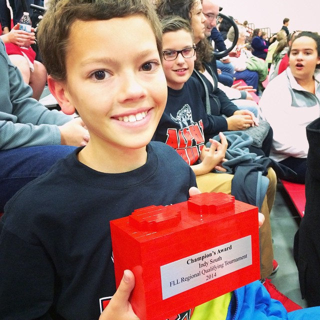 Team CGMSC 'Alpha Dog' is headed to state! And they won this- the Champions Award :) #Robotics #LegoLeague #IndianaRobotics