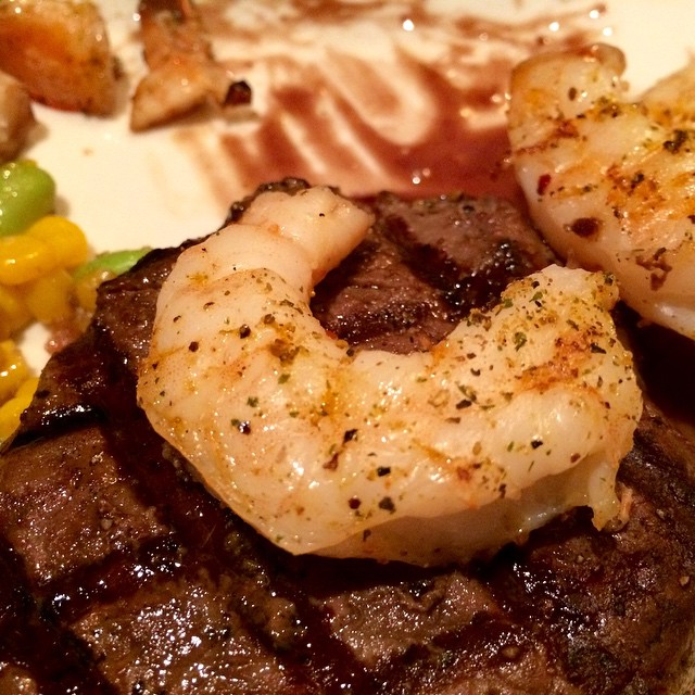 Sirloin with shrimp and a Malbec reduction-yes please! @bonefishgrill #FallMenu #Greenwood