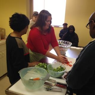Broccoli Salad with Chickpeas and Feta- Little Red Door Cancer Agency Door to Wellness Recipe
