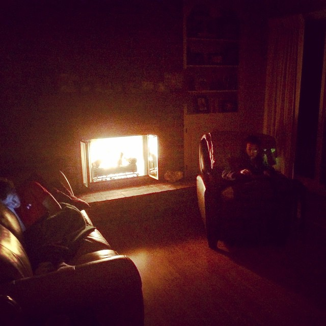 The best part is they are sitting by the fire reading together :) #PowerOut