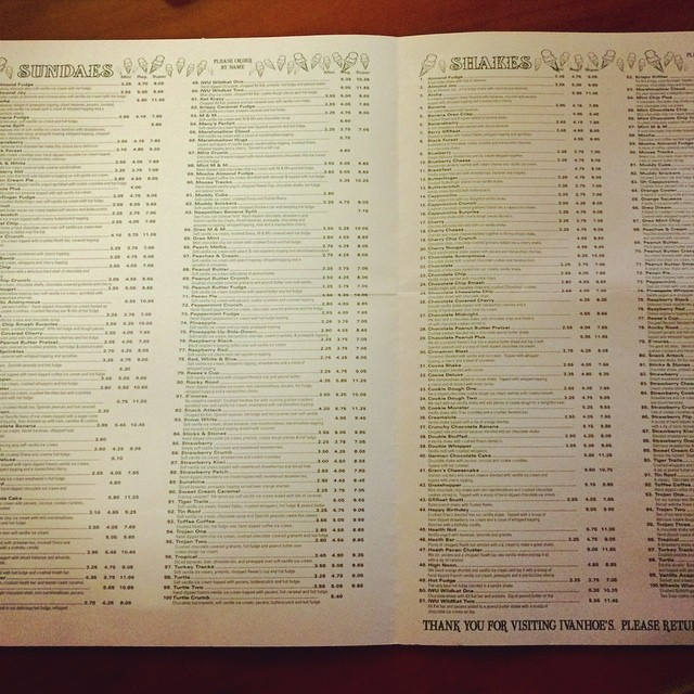 Ya. That's 100 choices on each page. Our favorite stop any time we are in the area- Ivanhoe's in Upland.