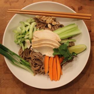Coconut Chicken Over Ginger Soy Soba Noodles