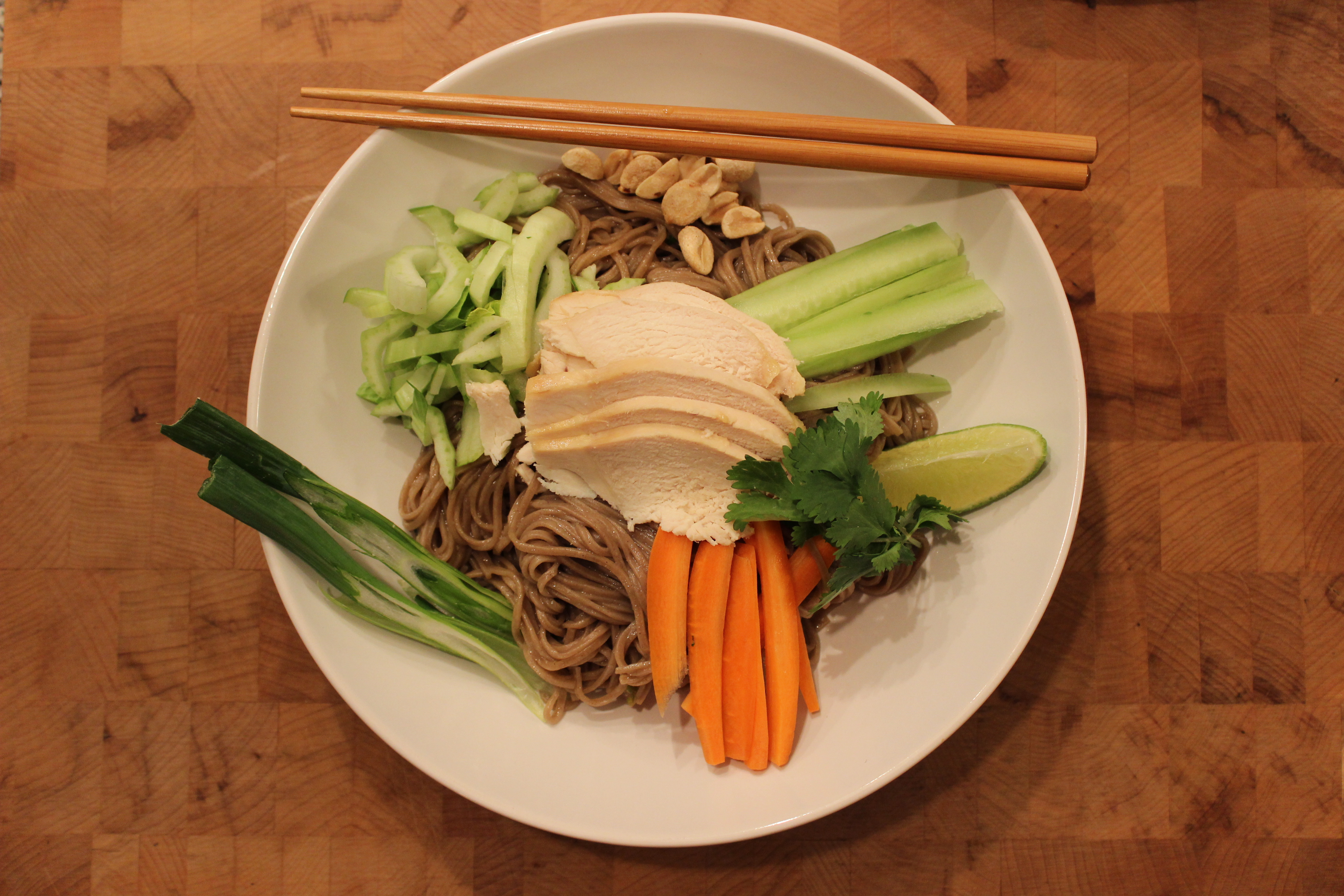 Coconut Chicken Over Ginger Soy Soba Noodles - This dinner recipe looks and tastes indulgent, but it's pretty healthy!