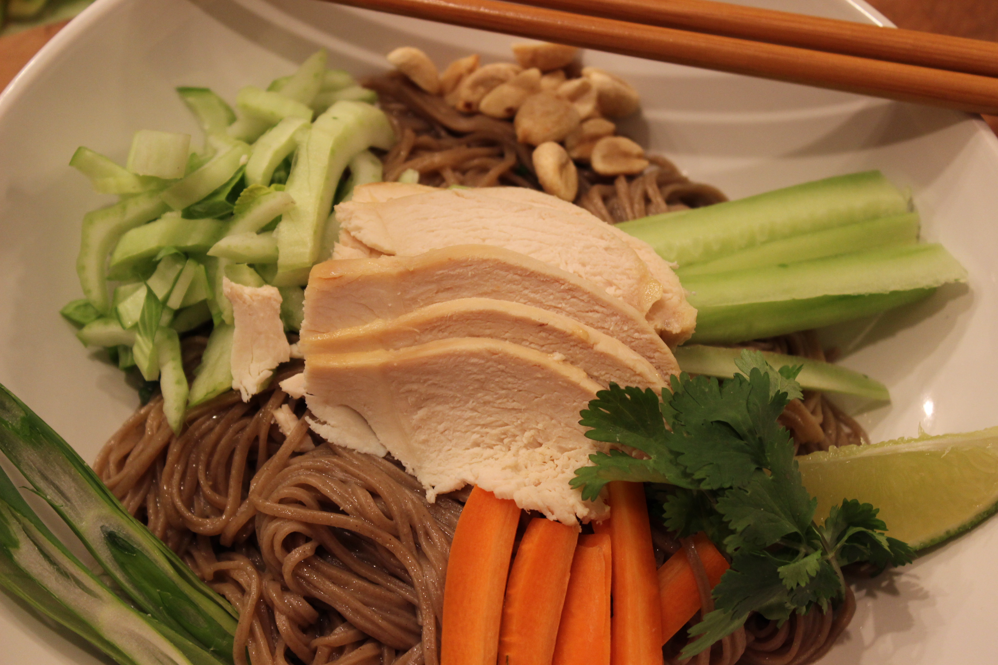 Coconut Chicken Over Ginger Soy Soba Noodles - Basilmomma