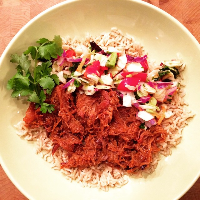 #SlowCooker Hoisin shredded pork bowl #familymeals @indianapork coming soon to the site!