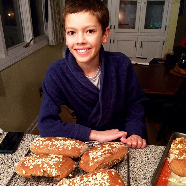 It's 9:15 but we have bread!! He is SO pleased with himself. I love it ❤️#kidsinthekitchen #kidscook #baking