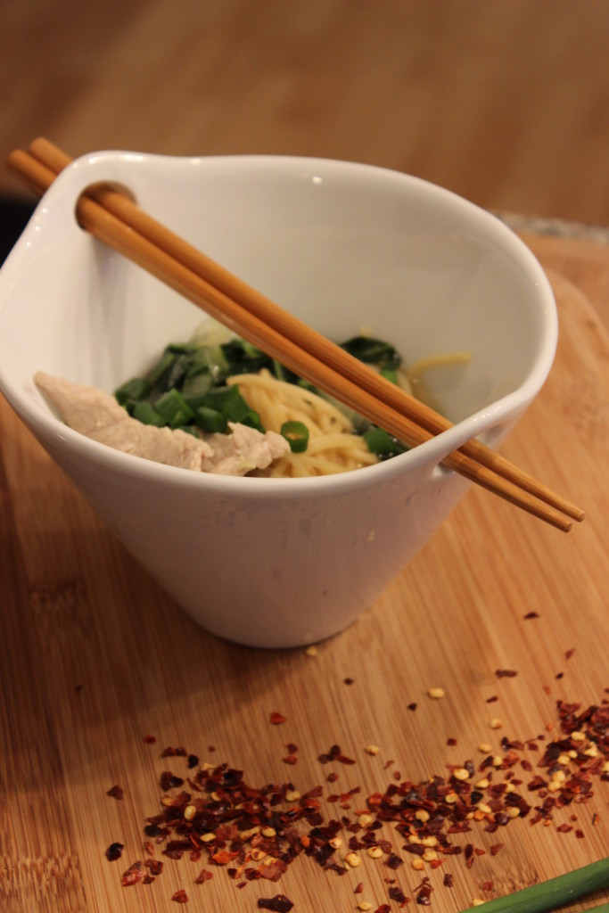 Hot and Sour Soup with Pork, Bok Choy and Ramen