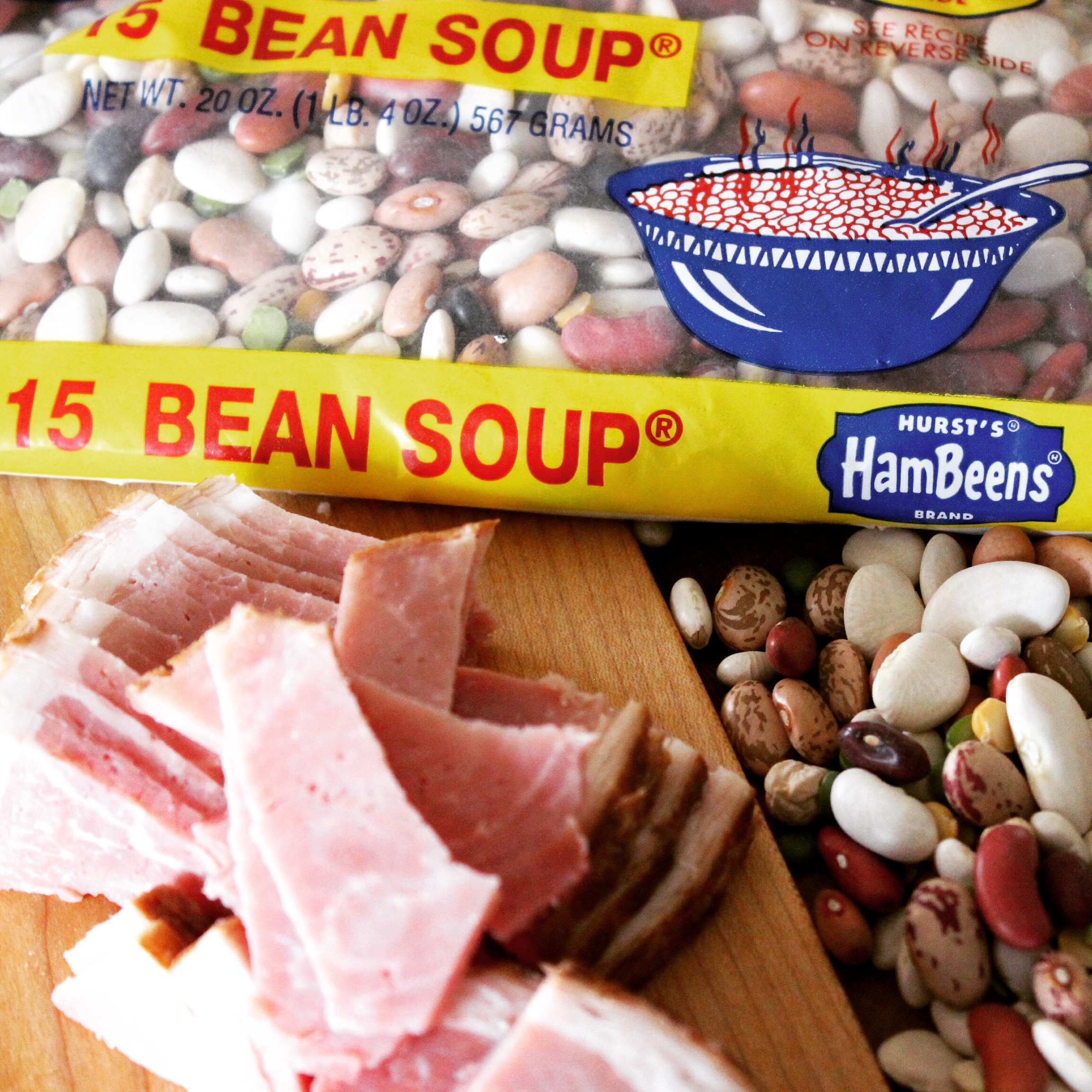 What is a quick recipe for making ham and beans in a crock pot?